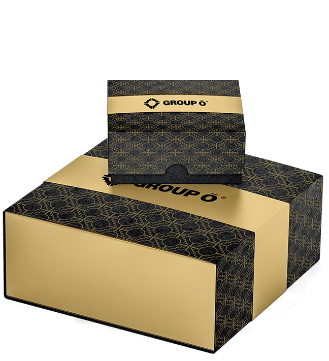 two group o branded boxes